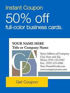 Sale. 50% off full-color business cards.