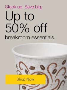 Stock up. Save big. Up to 50% off breakroom essentials.
