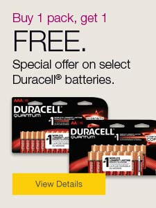 Buy 1 pack, get 1 FREE. Special offer on select Duracell® batteries.
