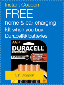 FREE home & car charging kit when you buy Duracell® batteries.