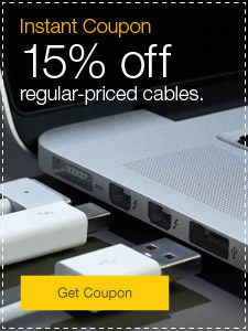 Instant coupon. 15% off regular-priced cables.