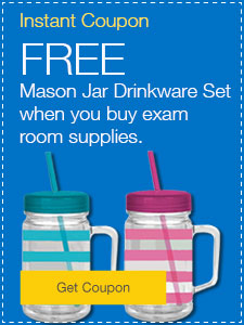FREE Mason jar drinkware set when you buy exam room supplies.