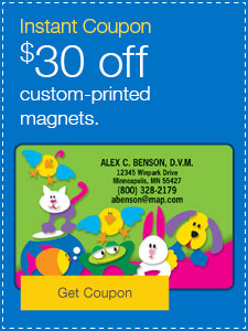 $30 off custom-printed magnets.