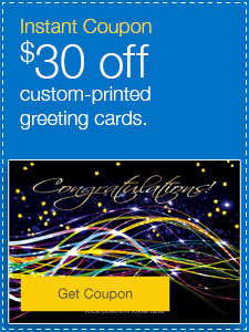 $30 off custom-printed greeting cards.