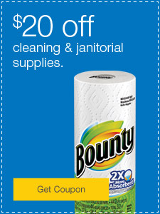 $20 off cleaning & janitorial supplies.