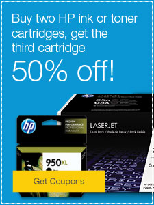 Buy two HP ink or toner cartridges, get the third cartridge 50% off!