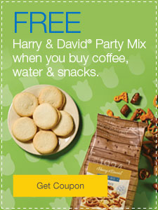 FREE Harry & David® Party Mix when you buy coffee, water & snacks.