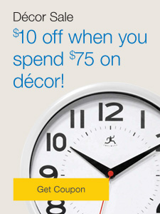 Décor sale. $10 off when you spend $75 on décor.