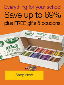 Sale. Up to XX% off school supplies, plus FREE gifts and coupons.