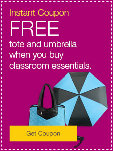 FREE tote and umbrella when you buy classroom essentials.