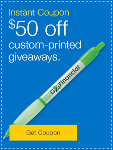 $50 off custom-printed giveaways.
