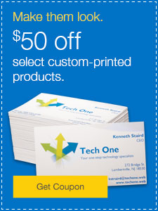 $50 off select custom-printed products.