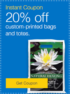 20% off custom-printed bags and totes.