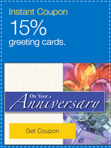 15% off greeting cards.
