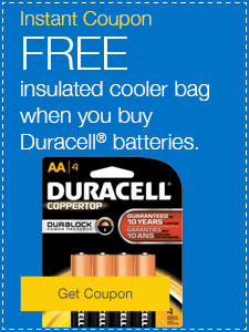 FREE insulated cooler bag when you buy Duracell™ batteries.