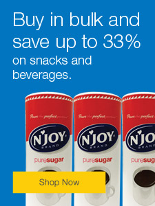 Buy in bulk and save up to 33% on snacks and beverages.