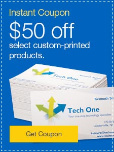 Instant Coupon. $50 off select custom-printed products.