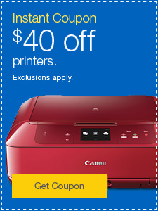 Instant Coupon. $40 off printers. Exclusions apply.