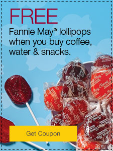 Share some happiness. FREE Fannie May® lollipops when you buy coffee, water & snacks.