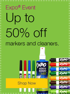 Up to 50% off markers and cleaners.