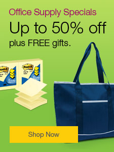 Office Supply Specials - Up to 50% off, plus FREE gifts.
