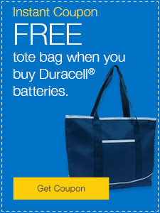 FREE tote bag when you buy Duracell® batteries.