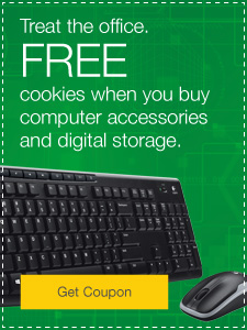 Treat the office. FREE cookies when you buy computer accessories and digital storage.