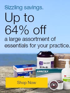 Sizzling savings. Up to 64% off a large assortment of essentials for your practice.
