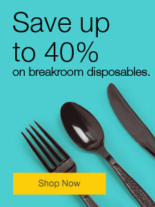 Save up to 40% on breakroom disposables.