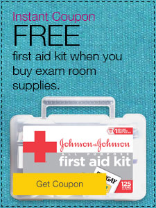 FREE first aid kit when you buy exam room supplies.