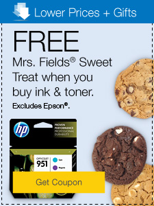 Lower Prices + Gifts. Free Mrs. Fields® Sweet Treat when you buy ink & toner. Excludes Epson®.