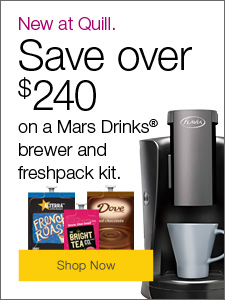 New at Quill! Save over $240 on a Mars Drainks® brewer and freshpack kit.