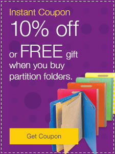 10% off or FREE gift when you buy partition folders.