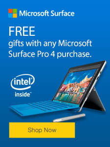 FREE gifts with any Microsoft Surface Pro 4 purchase.