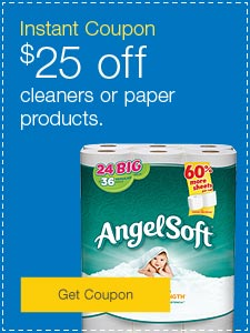Instant coupon. $25 off cleaners or paper products.