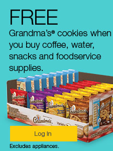 FREE Grandma's cookies when you buy coffee, water, snacks and foodservice supplies.