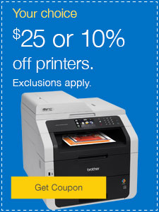 Your Choice $25 or 10% off printers.
