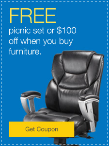 Free picnic set or $100 off when you buy furniture.