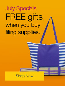 July Specials - FREE gifts when you buy filing supplies.
