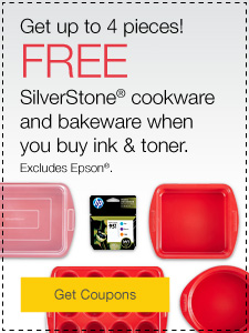 Get up to 4 pieces! FREE Silverstone® cookware & bakeware when you buy ink & toner.