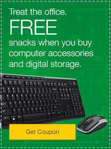 FREE snacks when you buy computer accessories and digital storage.