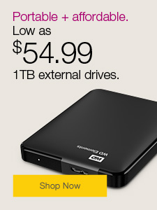 Portable + affordable. 1TB external drives low as $54.99.