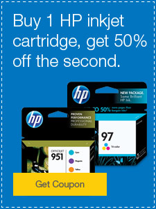 Buy 1 HP inkjet cartridge, get 50% off the second.