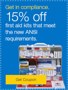 15% off first aid kits that meet the new ANSI requirements.