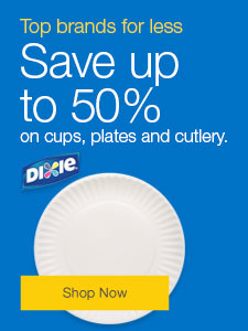 Save up to 50% on cups, plates and cutlery.