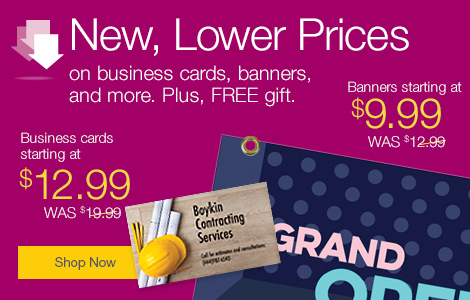 Save more now. New lower prices on custom-printed products, plus free gift offer.