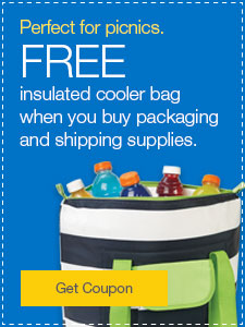 FREE insulated cooler bag when you buy packaging and shipping supplies.