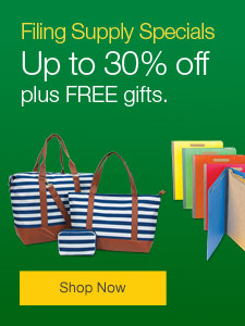 Filing Supply Special - up to 30%, plus FREE gifts.