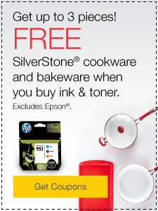 Get up to 3 pieces! FREE Silverstone® cookware and bakeware when you buy ink & toner.