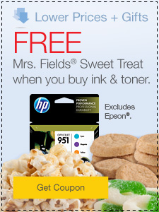 Lower Prices + Gifts. FREE Mrs. Fields® Sweet Treat when you buy ink & toner.